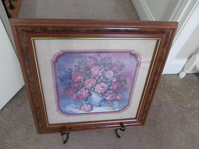 HOME INTERIOR / HOMCO PICTURE BY JULIA CRAINER VASE OF ROSES 18 X 18