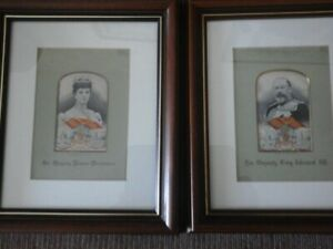 Royal Silk Pictures of King Edward Vll & Queen Alexandria