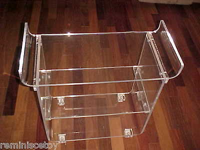 Acrylic Lucite 3 shelf push cart - Charles Hollis Jones? VERY UNIQUE, MUST SEE