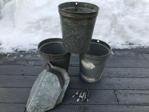 3 Vintage Galvanized Maple Sap Buckets With Lids, 6 Spiles, 3 Hooks