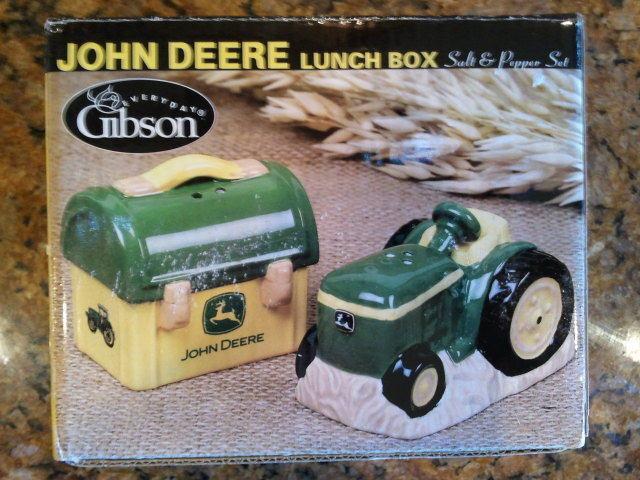 JOHN DEERE TRACTOR & LUNCH BOX SALT AND PEPPER SHAKERS