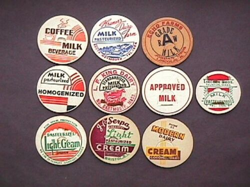 Dairy013 10 All Different Milk Caps Collectible Dairy