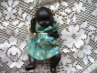 "6.5"" CUTIE LITTLE BLACK JOINTED PAINTED BISQUE DOLL,DRESS"