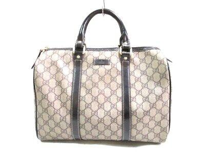 Auth GUCCI GG 193603 Beige DarkBrown PVC &  Leather Handbag