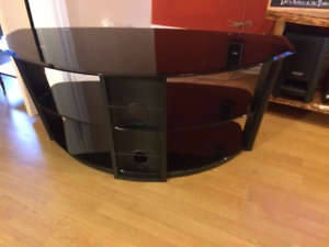 3-tier, smoked glass television and entertainment table for sale