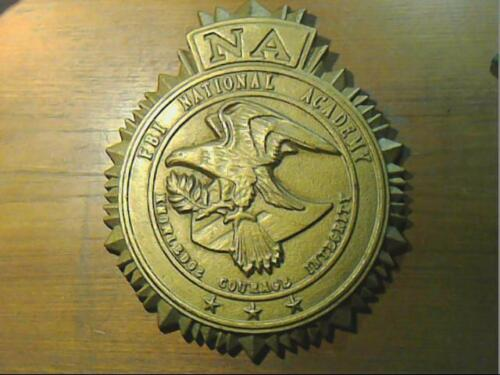 Cast iron FBI NA National Academy Gold Color 3D Wall  Plaque