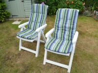 White Padded Reclining Garden Chairs