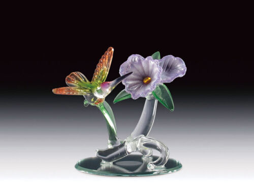 "Glass Hummingbird Figurine With Purple Hibiscus Figurines Hummingbirds 3 3/4"" H"