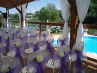 Organza sashes, purple  or ivory, various sizes