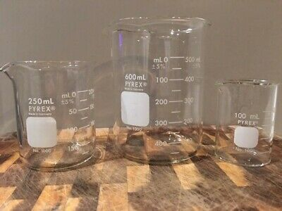 3 Pyrex West Germany Clear Glass 1000 100ml 250ml 600ml Beaker Beakers