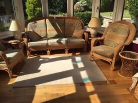 Cane Suite : Recently Recovered 3 Seater & 2 Chairs & Cushions with 3 Circular Side Tables