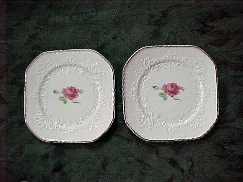 Two Vintage Erphila Princess Rose Square Lunch Salad Plates Bavaria