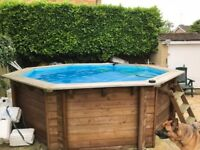 SWIMMING POOL 3.5M X 1.17M ABOVE GROUND OCTAGONAL WOODEN PLASICA PLUS HEATER PUMP FILTER ETC