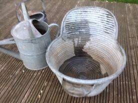 old watering cans and rare wash tub rub a tub job lot