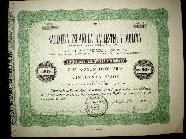 Salinera Española Ballester y Molina Share Certificate 1959