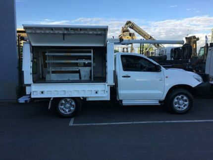 2013 Toyota Hilux KUN26R MY12 SR (4x4) White 5 SP MANUAL Cab Chassis