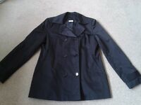Ladies/girls jackets x 2, one black mac, one kharki bomber jacket
