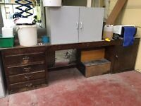 Long bench desk with 4 drawers and one cupboard
