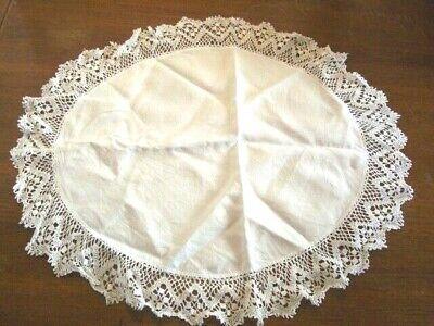 Vintage OVAL white cotton Antique Table Doilie   20