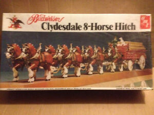 VINTAGE Model 1970's BUDWEISER CLYDESDALE 8 HORSE HITCH AND BEER