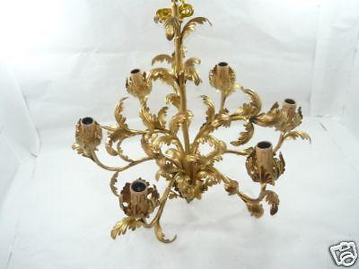 Lampadario grande in ferro battuto foglie acanto dorate 6 luci stile classico