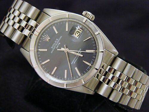 Rolex Date Mens Stainless Steel Watch Engine-Turned Index Bezel Slate Gray Dial - watch picture 1