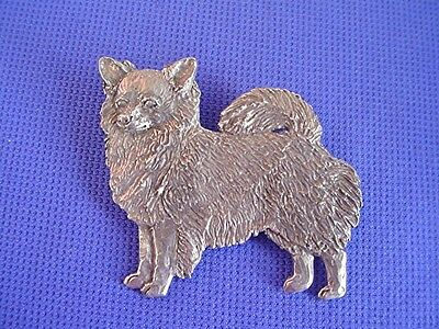 Long hair Chihuahua pin STANDING #36D Pewter dog jewelry by Cindy A. Conter