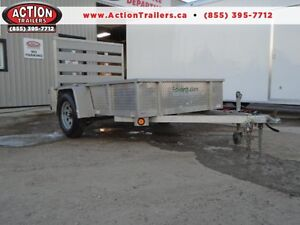 **USED** 5X8 ALUMINUM UTILITY TRAILER - SOLID SIDES, BIFOLD GATE