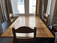 French oak dining table and 4 matching oak chairs