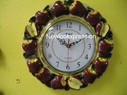 RED APPLE wall clock Decor Kitchen Fruits home new bar set  #6