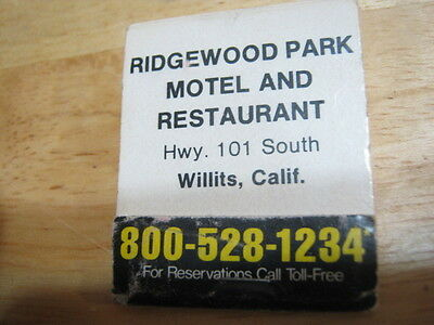 Vintage Ridgewood Park Motel   Restaurant Willits Calif Best Western Matchbook