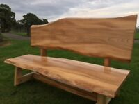 Solid Elm Waney Edge Bench