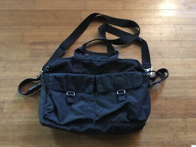 Used Kipling Large Baby Diaper Tote Bag Black in Good Condition