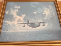 RAF Airplane Collectable WW11 Military Print – Sunderland Flying Boat by Ron Lackenby