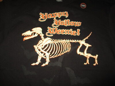 Sayings Happy Hollow Weenie! (LG) T-Shirt HALLOWEEN Dachshund GLOWS IN THE DARK (Happy Halloween Dachshund)
