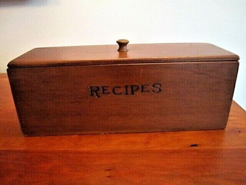 Large Vintage Wooden Recipe Box, 2 Compartments