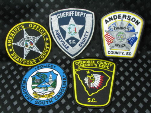 713ao South Carolina SHERIFF and POLICE DEPARTMENT  ~ 5pc Patch LOT