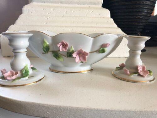 Lefton Vase & 2 Candlesticks White Porcelain Gold Trim Pink Cherry Blossoms #721