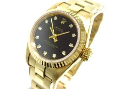 Auth ROLEX Oyster Perpetual 67198G 18K Yellow Gold, Black X852599 Women
