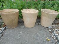 "3 GARDEN POTS PLANTERS 7"" HEIGHT PALE TERRACOTTA"