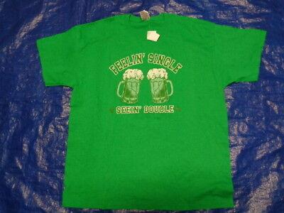 New IRISH t GREEN T-SHIRT FEELIN' SINGLE SEEING DOUBLE ST PAT'S DAY SHIRT SZ XL