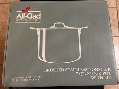 NIB Williams Sonoma All-Clad Brushed Stainless Nonstick 7 QT. Stock Pot With Lid
