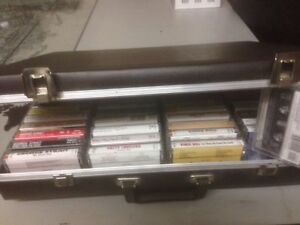 50 old cassette tapes with suitcase style case London Ontario image 5