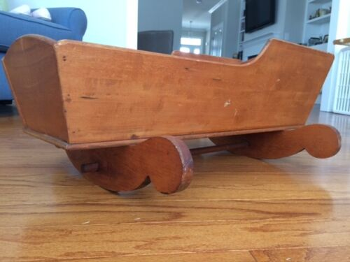 Antique Hand Crafted Wooden Rocker -- Baby Cradle--1920