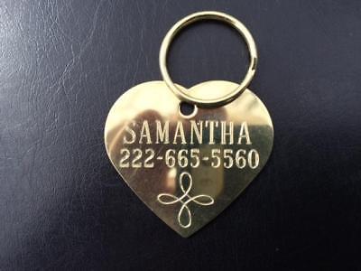 Decrative Solid Brass Heart Dog Tag - Custom  Diamond Engraved - Infinity Cross