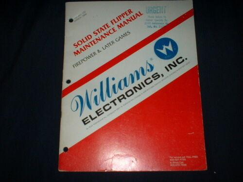 SOLID STATE FLIPPER MAINTENANCE-Williams Orig. Manual-L@@K!