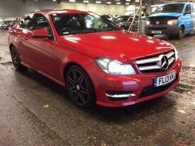 2013 MERCEDES BENZ C220 2.1 AMG SPORT PLUS C CLASS CDI BLUE EFFICIENCY DIESEL AUTOMATIC COUPE RED