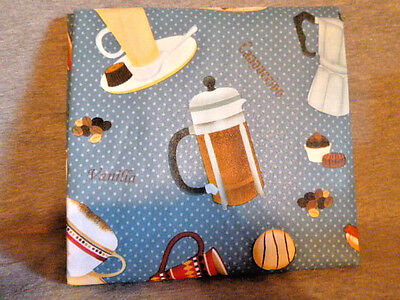 "Blue Coffee Lovers Tablecloth 52"" x 70"" Oblong Vinyl New Latte"