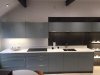 Ex-Display Ocean Blue Kitchen with worktop, sink and tap £7,950