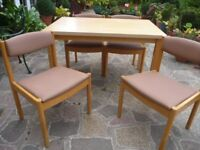 Light Wood Table & 4 Ercol Chairs in Good Condition